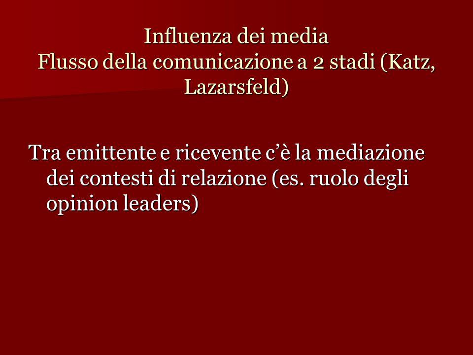 Influenza dei media Flusso della comunicazione a 2 stadi (Katz, Lazarsfeld)