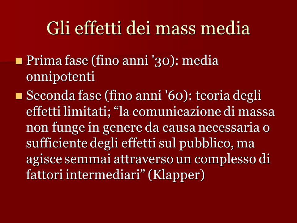Gli effetti dei mass media