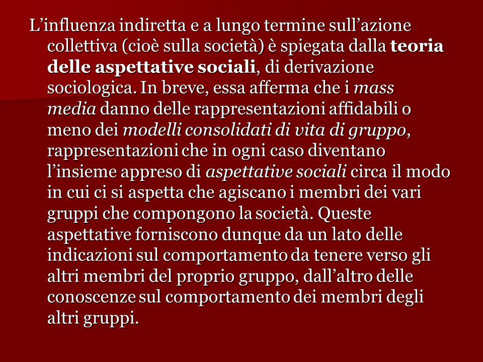 L'influenza indiretta e a lungo termine sull'azione collettiva (cioè sulla società) è spiegata dalla teoria delle aspettative sociali, di derivazione sociologica.