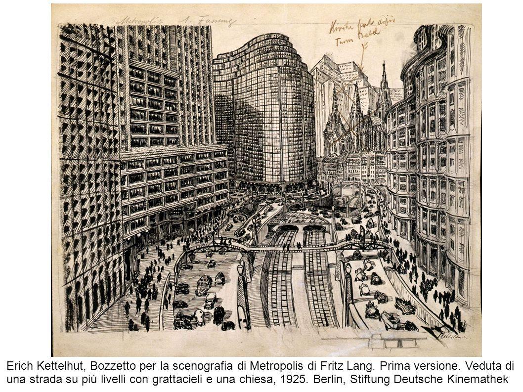Erich Kettelhut, Bozzetto per la scenografia di Metropolis di Fritz Lang.