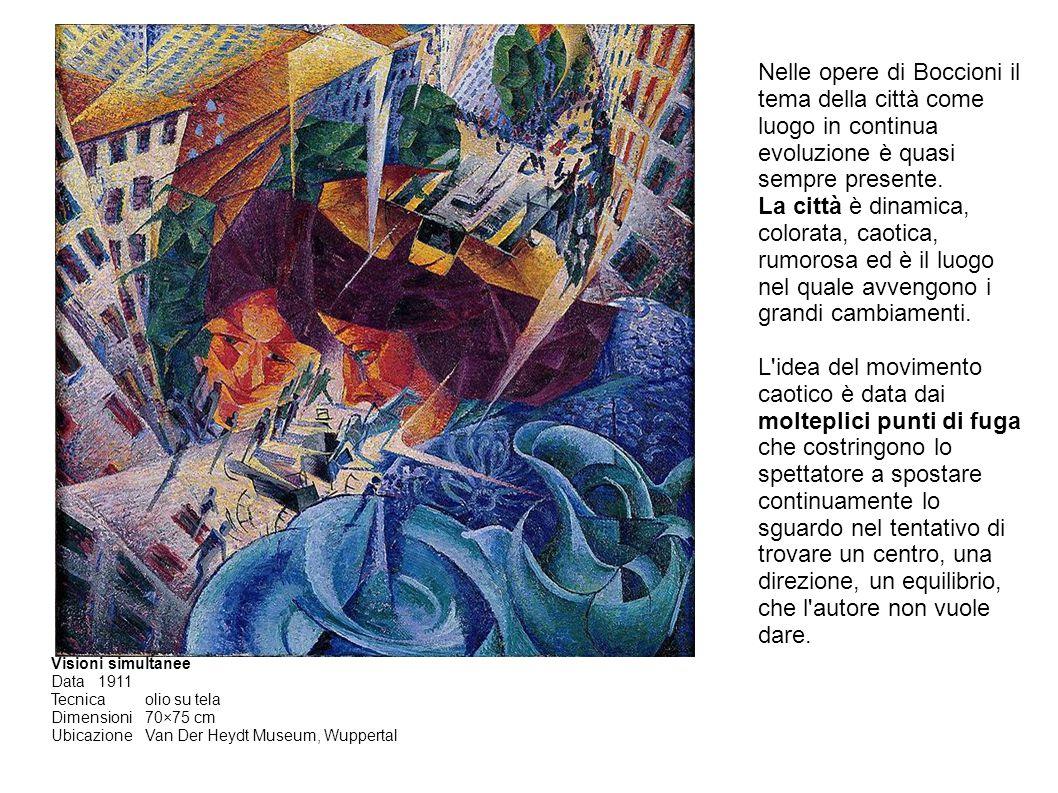 Nelle opere di Boccioni il tema della città come luogo in continua evoluzione è quasi sempre presente.