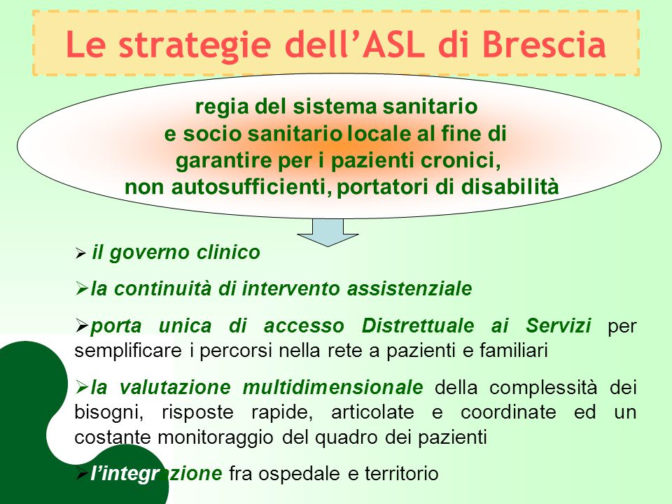 Le strategie dell'ASL di Brescia