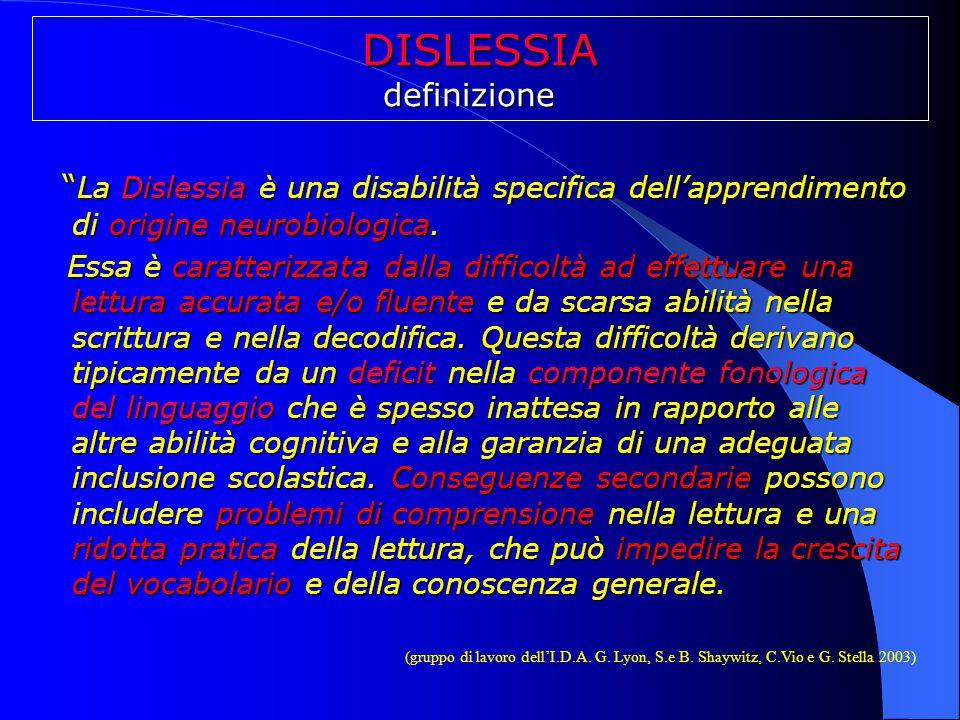 DISLESSIA definizione. La Dislessia è una disabilità specifica dell'apprendimento di origine neurobiologica.