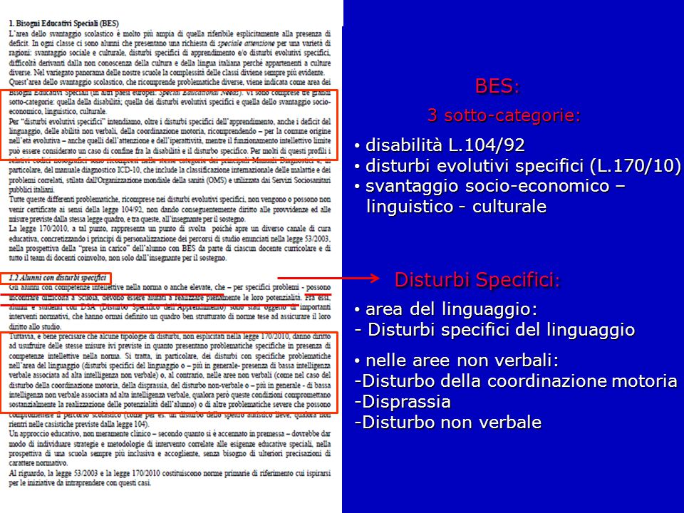 BES: Disturbi Specifici: 3 sotto-categorie: disabilità L.104/92