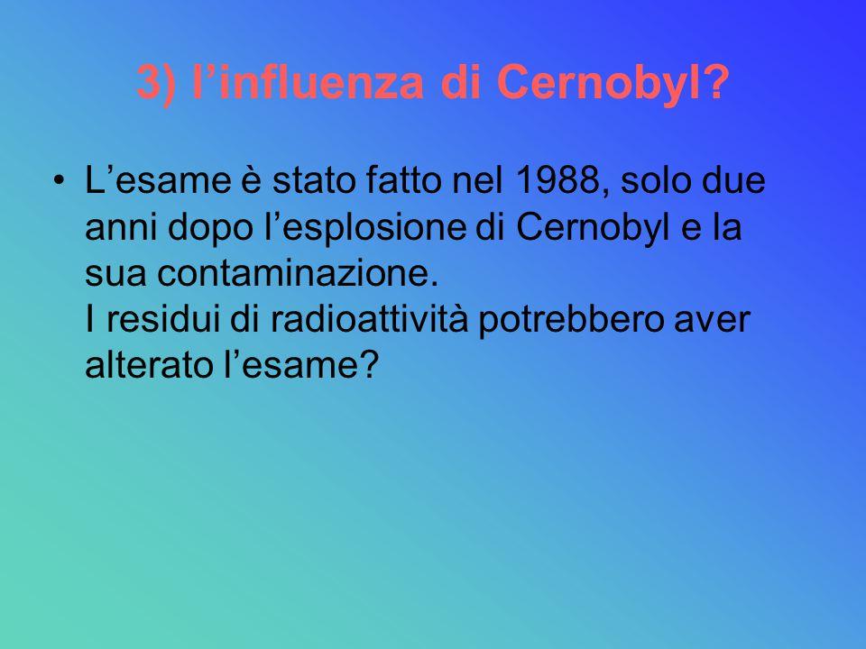 3) l'influenza di Cernobyl