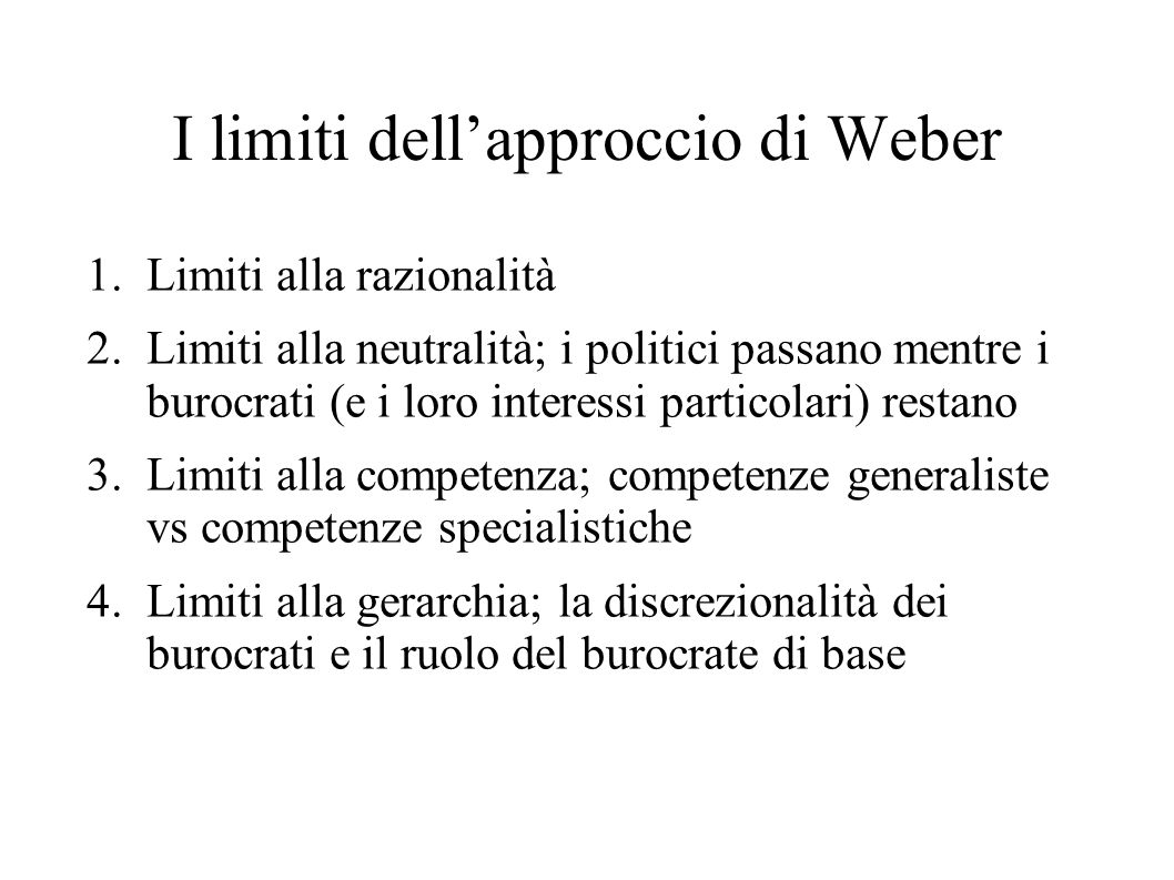 I limiti dell'approccio di Weber