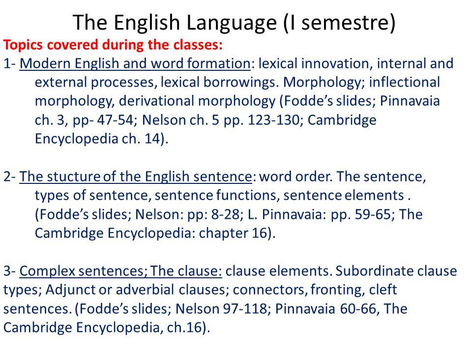 The English Language (I semestre)