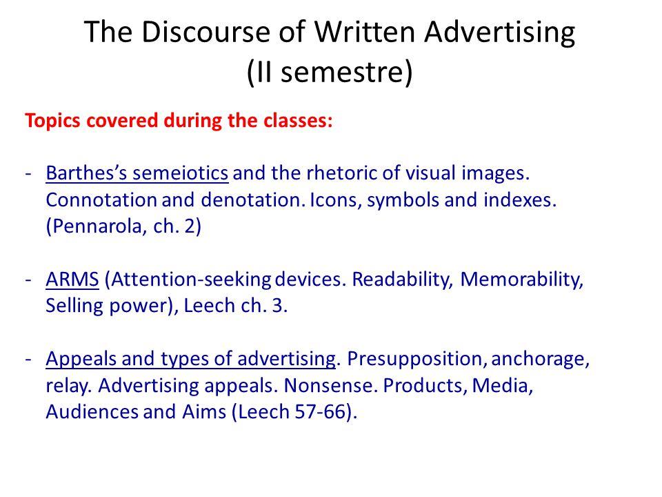 The Discourse of Written Advertising (II semestre)
