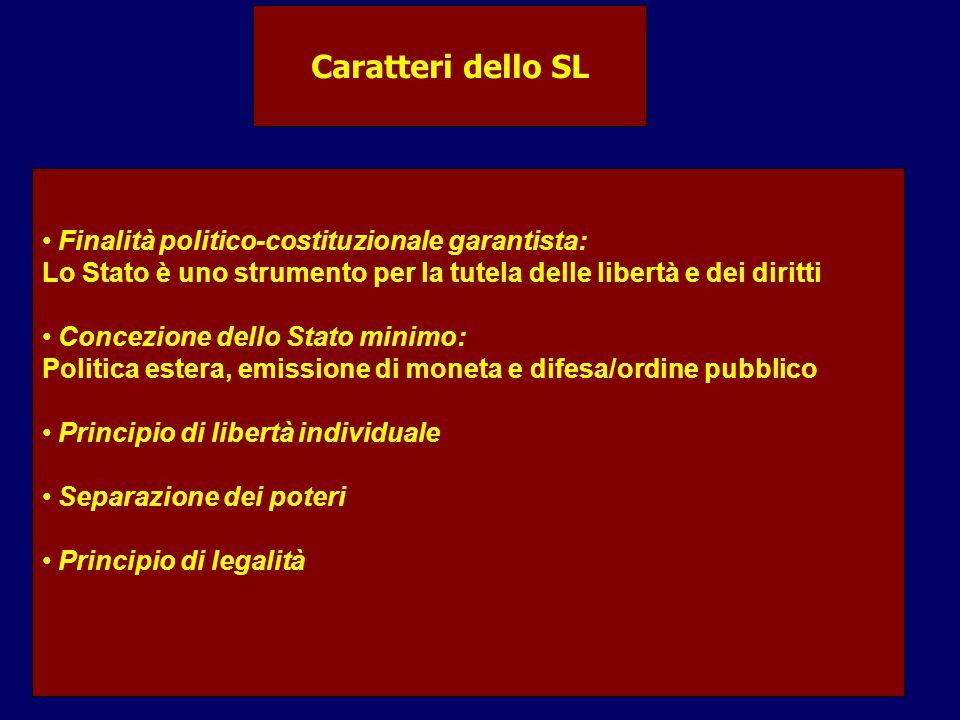 Caratteri dello SL Finalità politico-costituzionale garantista: