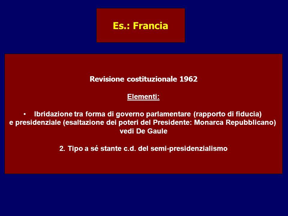 Es.: Francia Revisione costituzionale 1962 Elementi:
