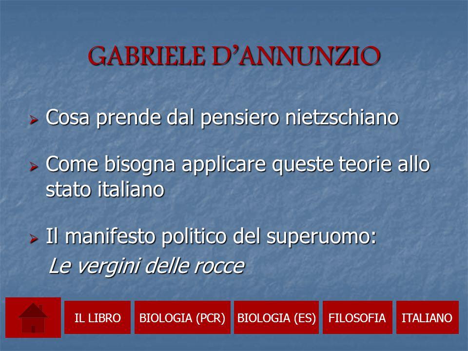 GABRIELE D'ANNUNZIO Cosa prende dal pensiero nietzschiano