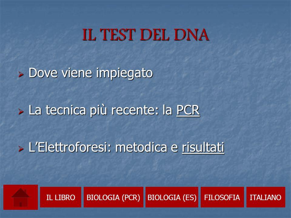 IL TEST DEL DNA Dove viene impiegato La tecnica più recente: la PCR