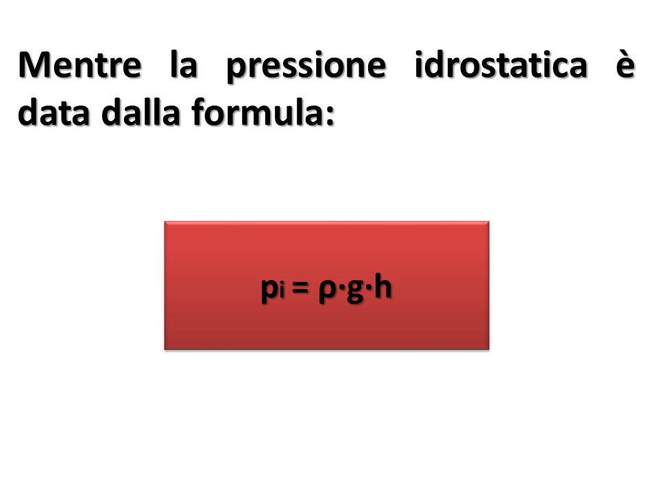 Mentre la pressione idrostatica è data dalla formula: