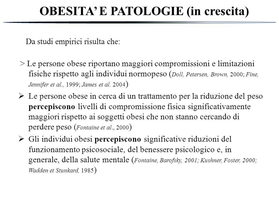 OBESITA' E PATOLOGIE (in crescita)