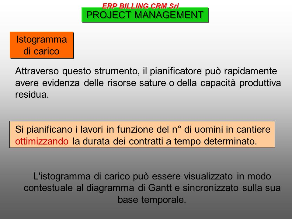 PROJECT MANAGEMENT Istogramma di carico