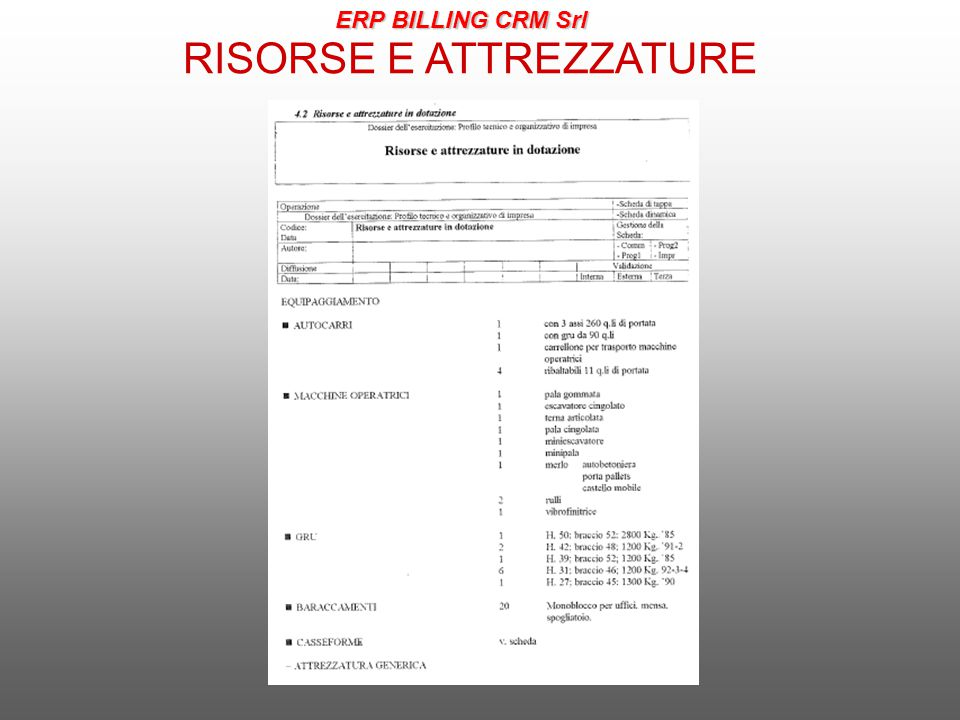 RISORSE E ATTREZZATURE