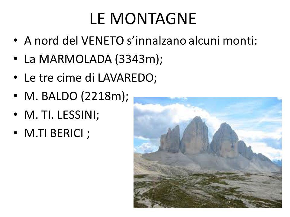 LE MONTAGNE A nord del VENETO s'innalzano alcuni monti: