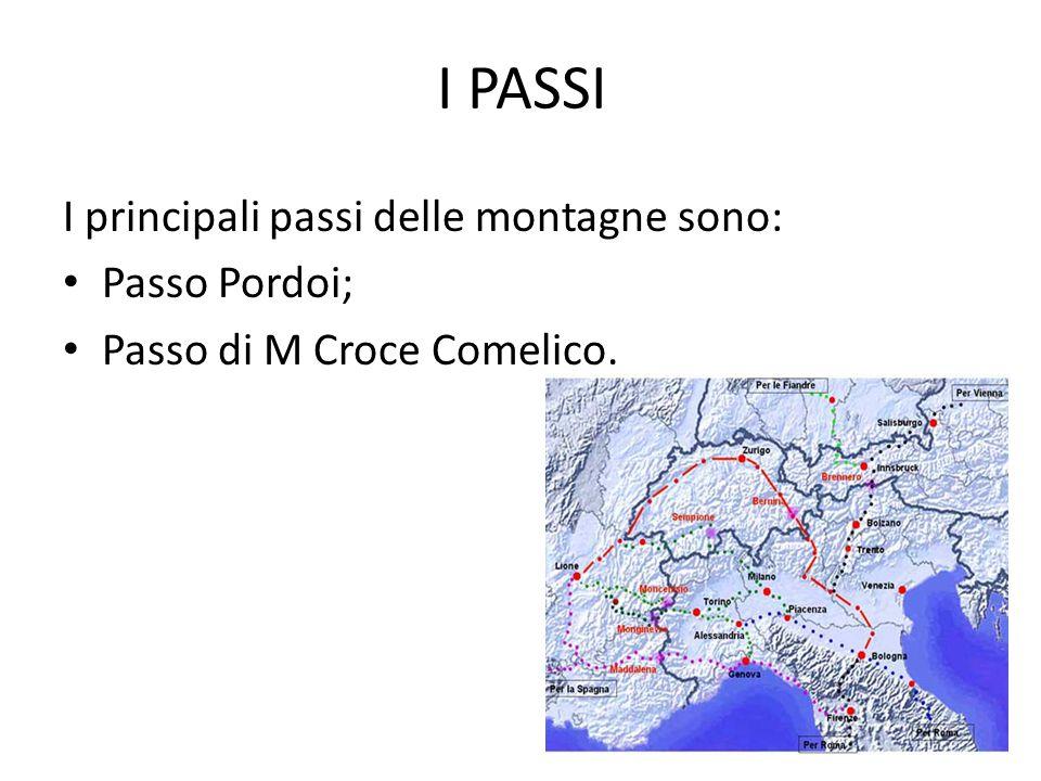 I PASSI I principali passi delle montagne sono: Passo Pordoi;