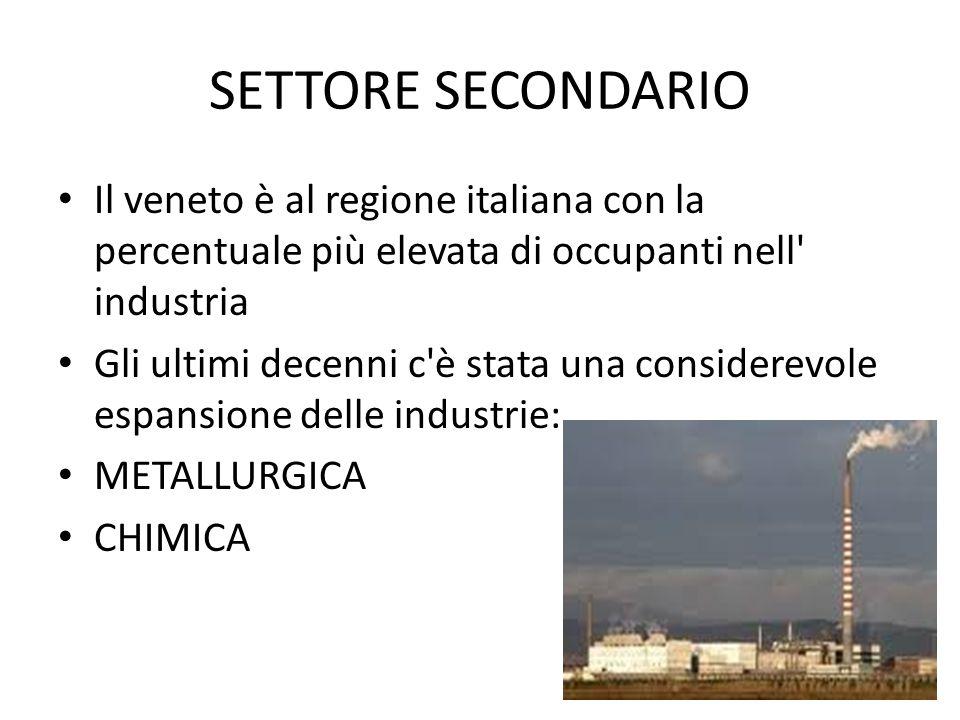 SETTORE SECONDARIO Il veneto è al regione italiana con la percentuale più elevata di occupanti nell industria.