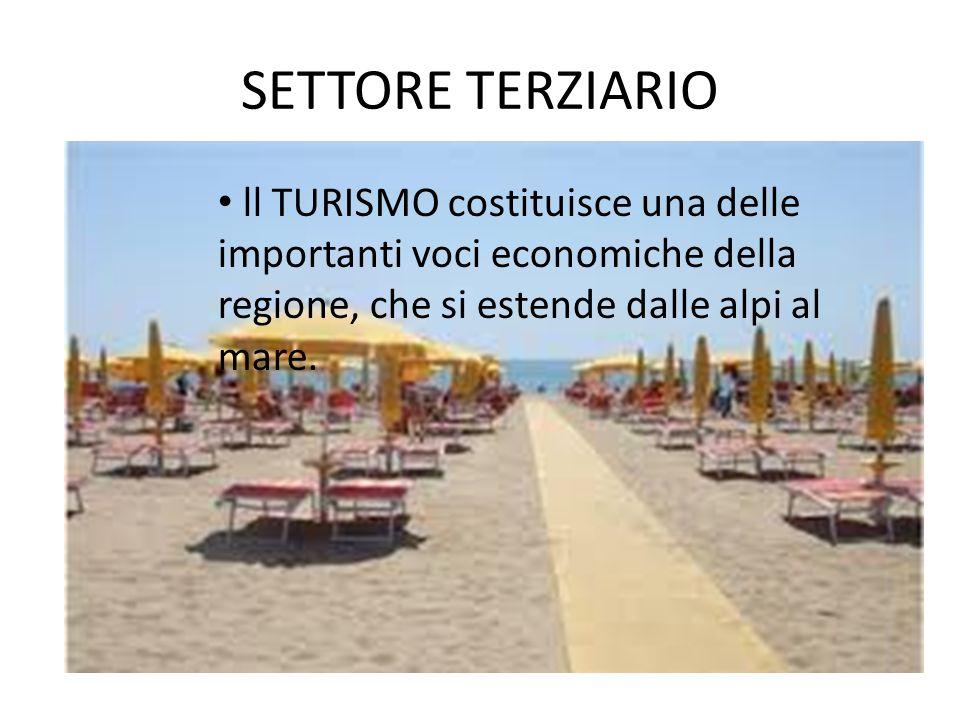 SETTORE TERZIARIO ll TURISMO costituisce una delle importanti voci economiche della regione, che si estende dalle alpi al mare.
