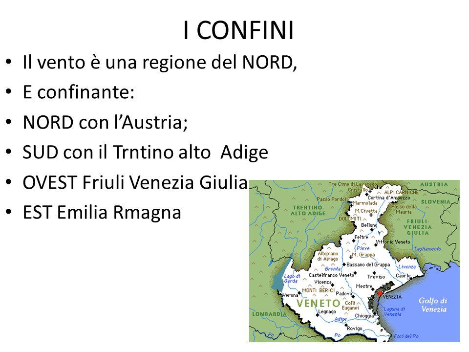 I CONFINI Il vento è una regione del NORD, E confinante: