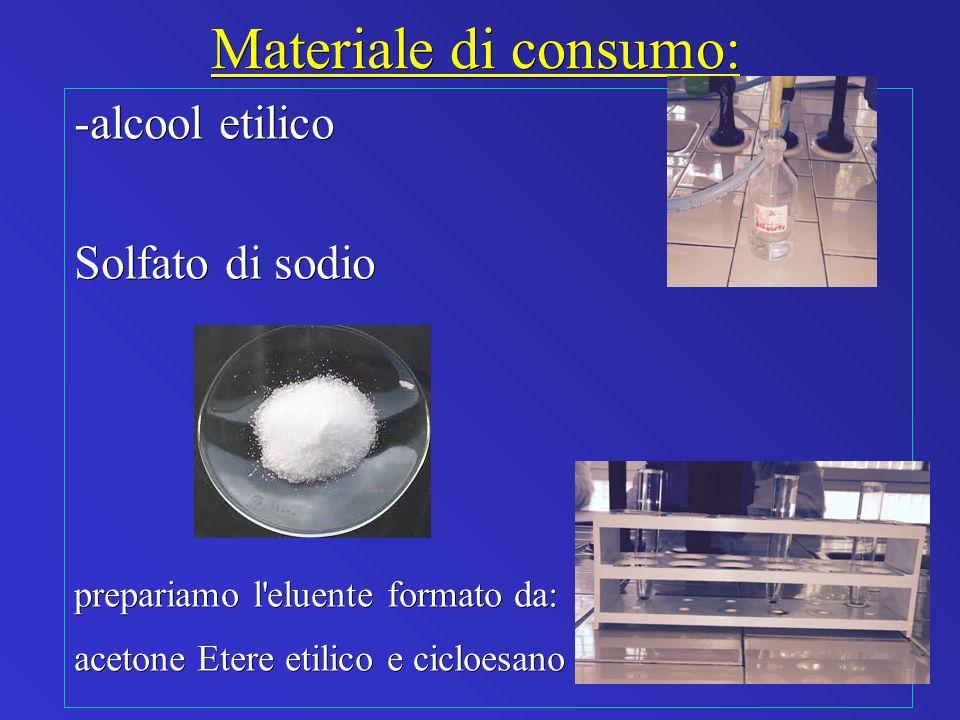 Materiale di consumo: -alcool etilico Solfato di sodio