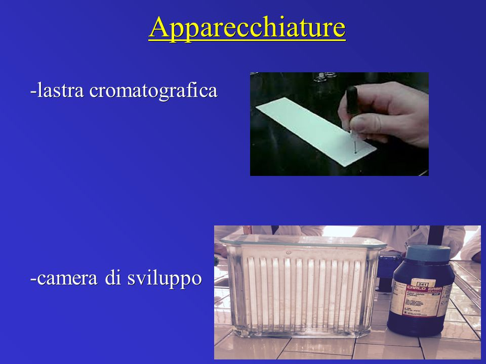 Apparecchiature -lastra cromatografica -camera di sviluppo