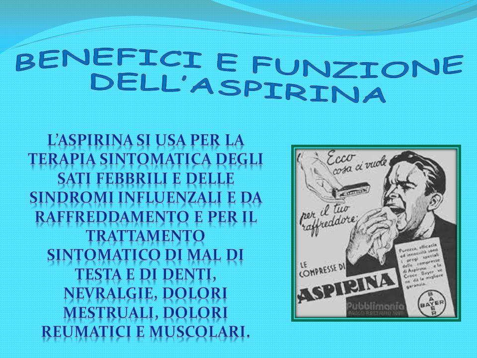BENEFICI E FUNZIONE DELL'ASPIRINA