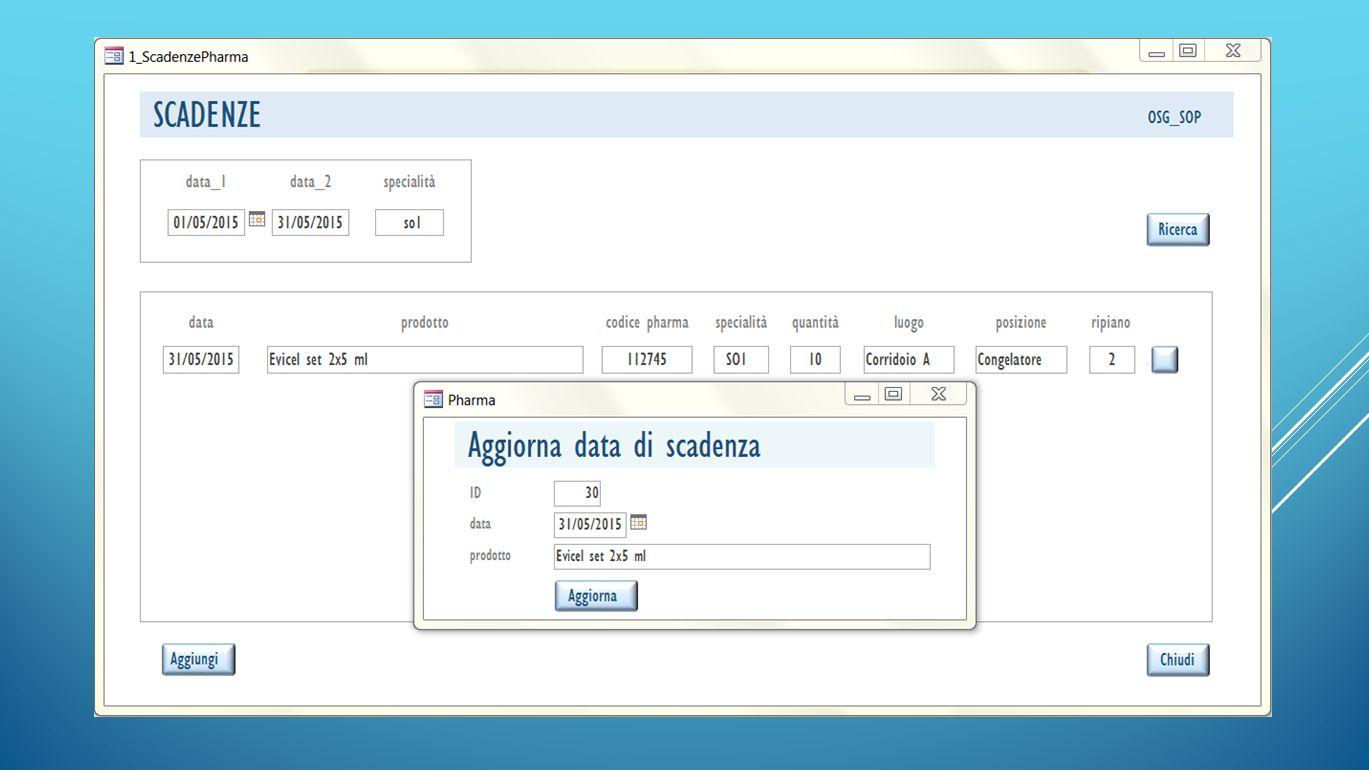 Inserimento dati Descrizione prodotto Codice pharma Specialità