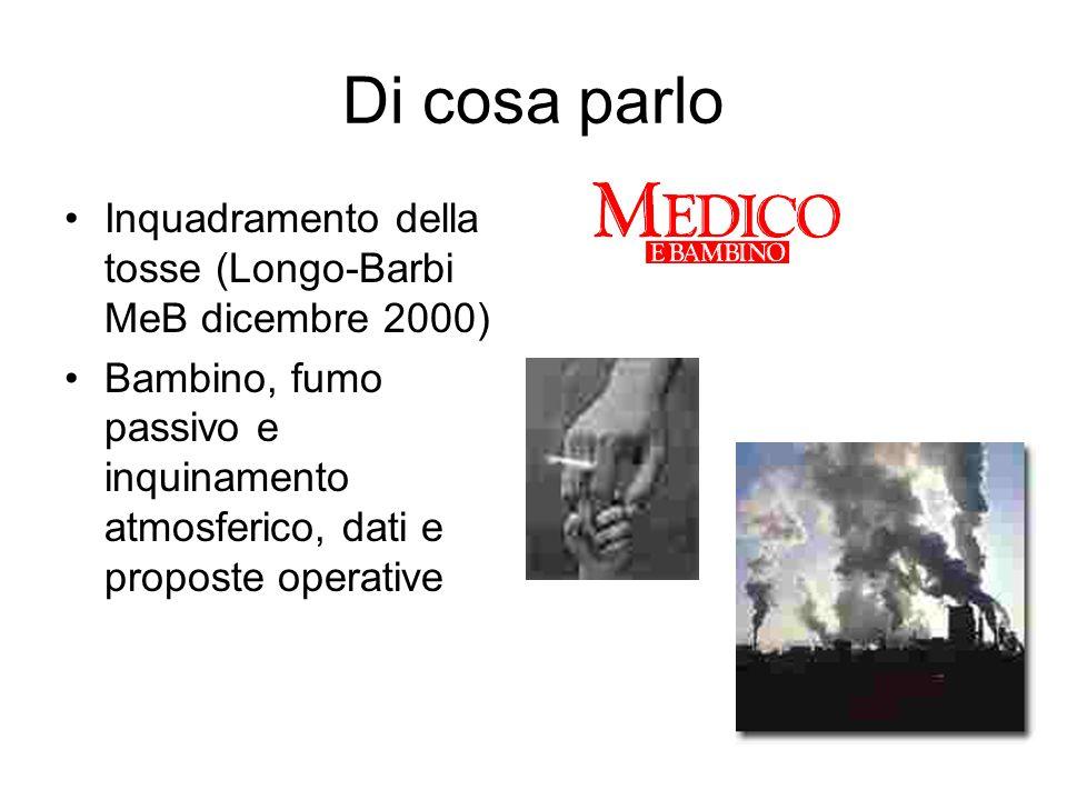 Di cosa parlo Inquadramento della tosse (Longo-Barbi MeB dicembre 2000) Bambino, fumo passivo e inquinamento atmosferico, dati e proposte operative.