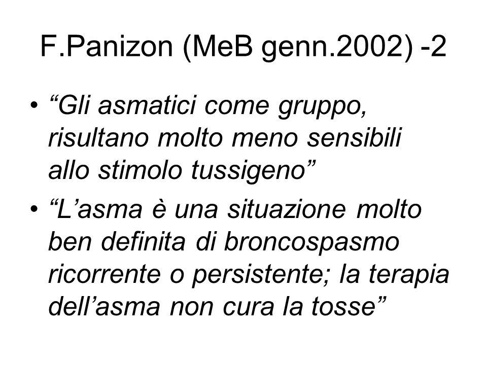 F.Panizon (MeB genn.2002) -2 Gli asmatici come gruppo, risultano molto meno sensibili allo stimolo tussigeno