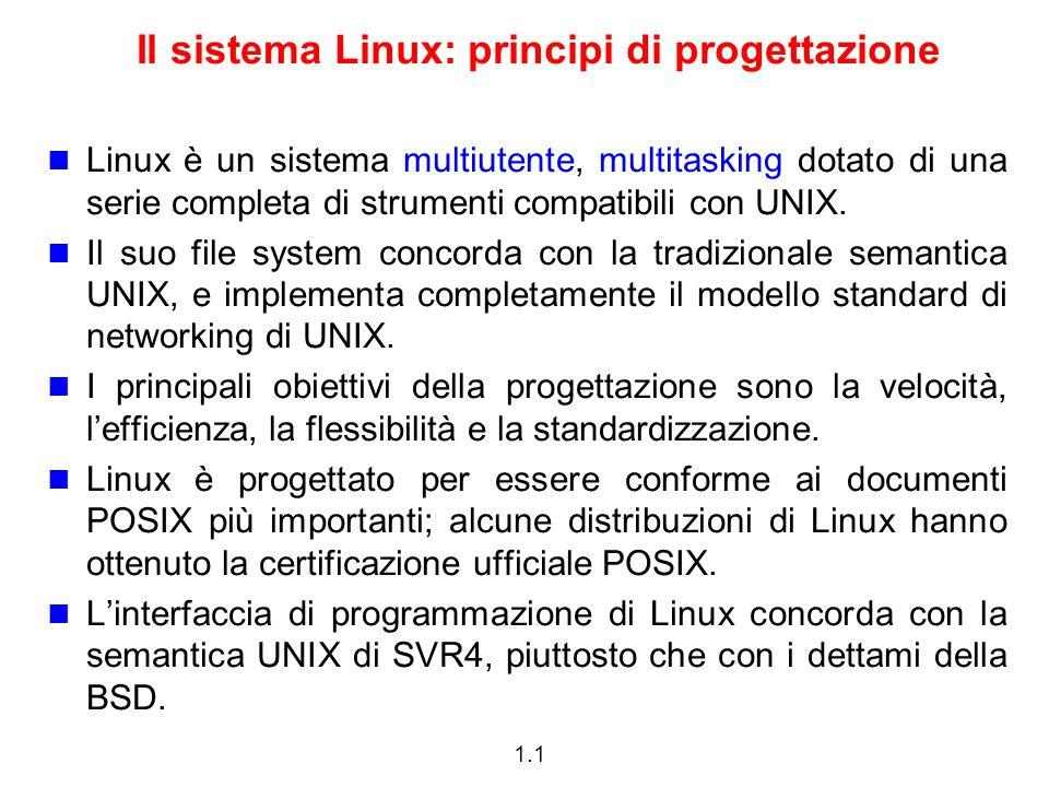 Il sistema Linux: principi di progettazione
