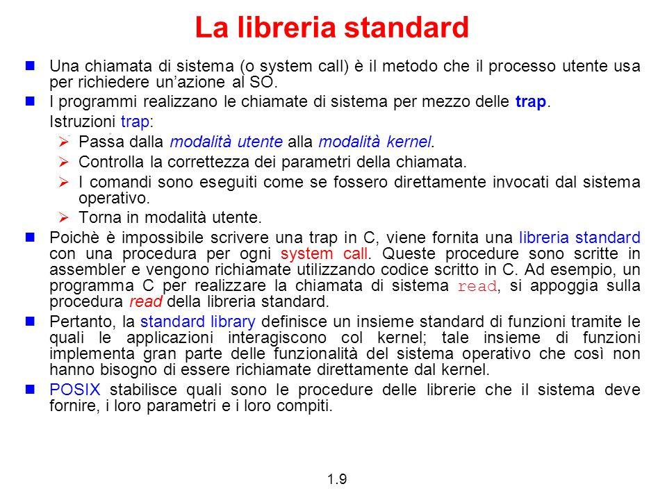 La libreria standard Una chiamata di sistema (o system call) è il metodo che il processo utente usa per richiedere un'azione al SO.