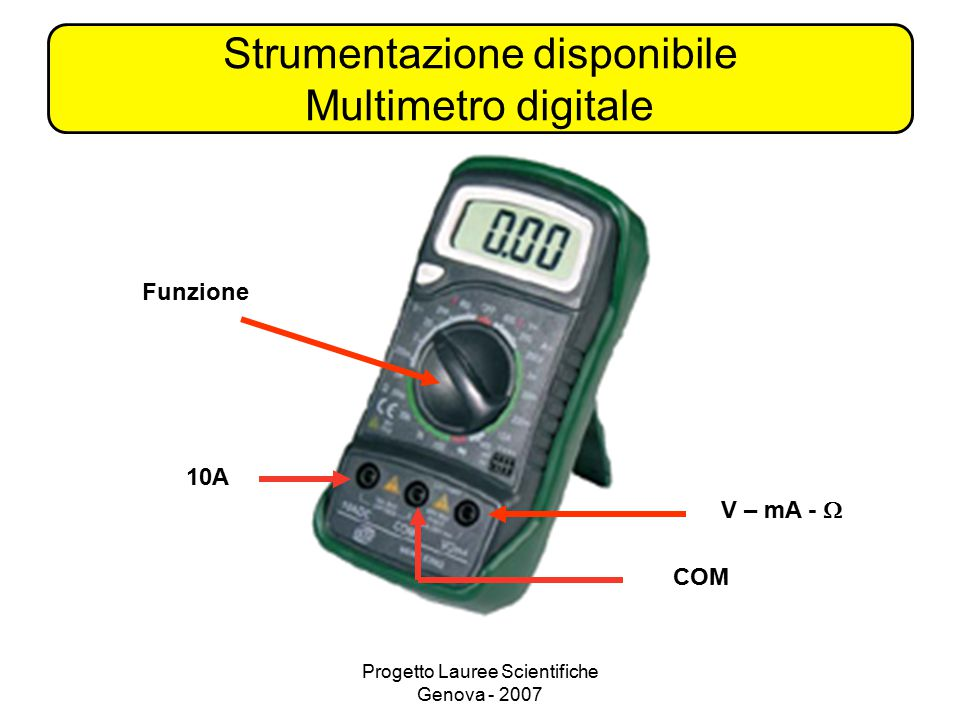 Strumentazione disponibile Multimetro digitale