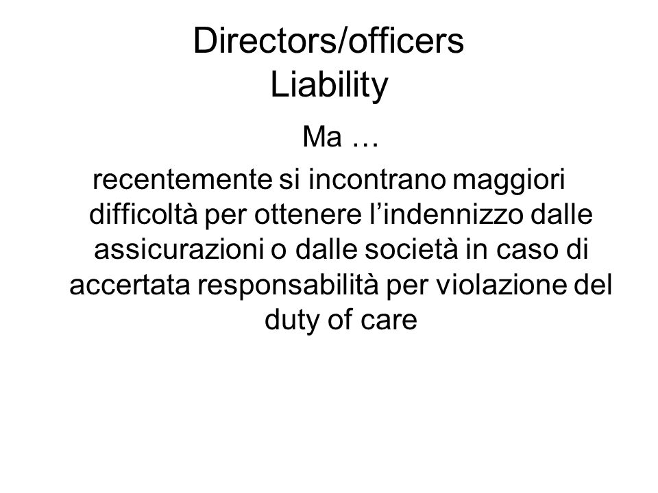 Directors/officers Liability
