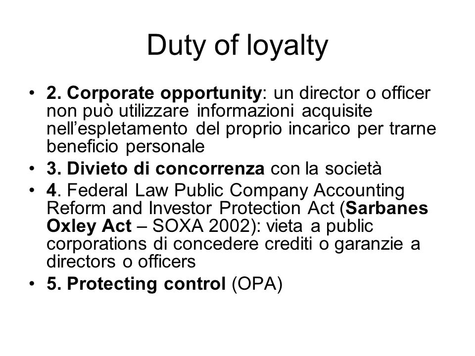 Duty of loyalty