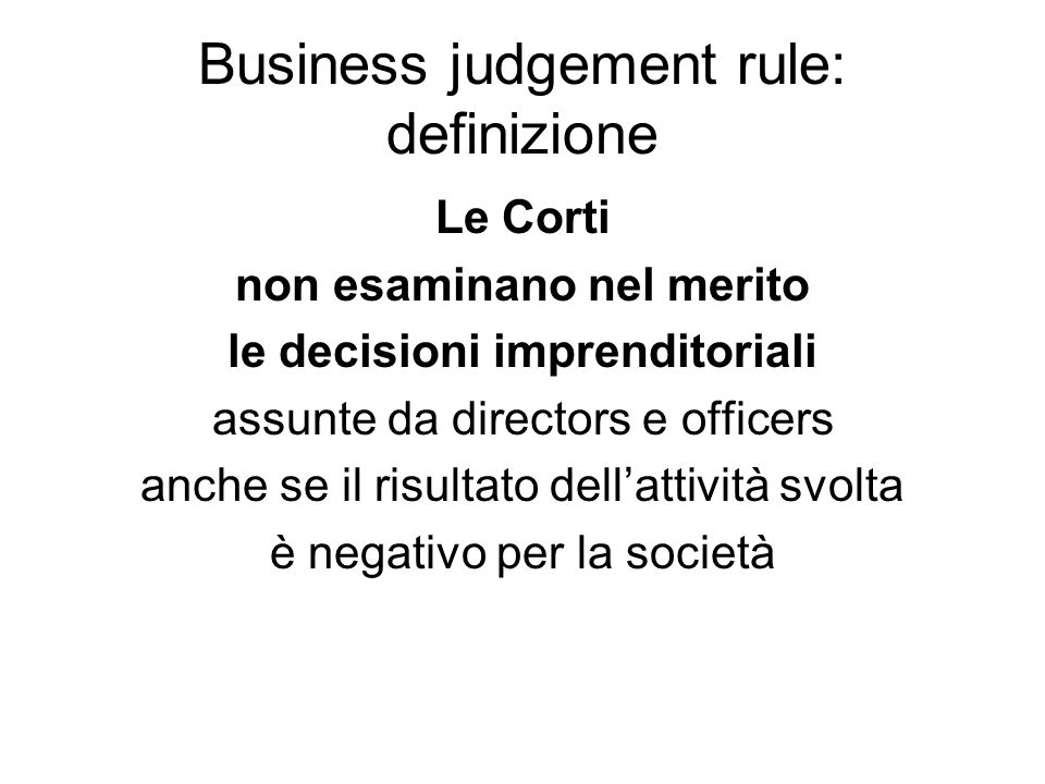 Business judgement rule: definizione