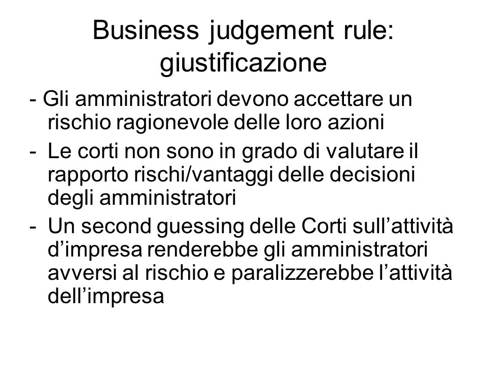 Business judgement rule: giustificazione