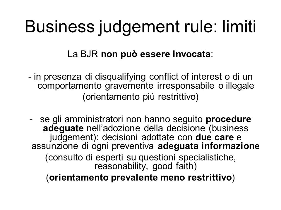 Business judgement rule: limiti