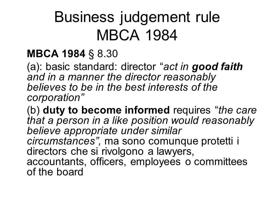 Business judgement rule MBCA 1984