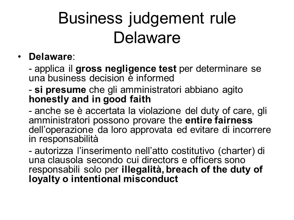 Business judgement rule Delaware