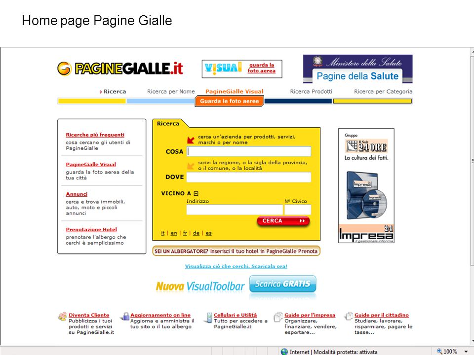 Home page Pagine Gialle