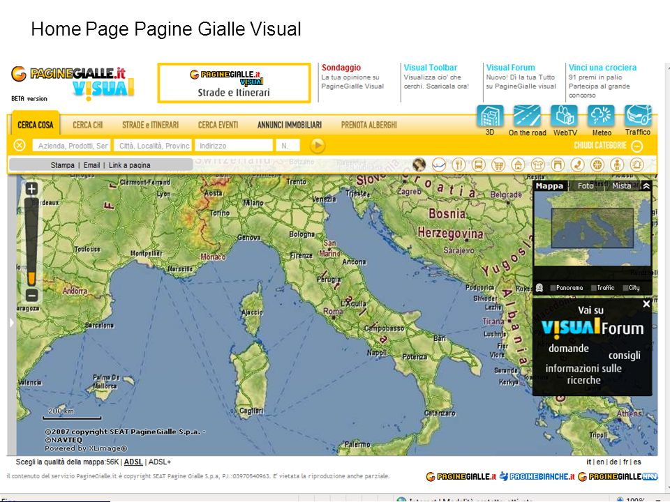 Home Page Pagine Gialle Visual