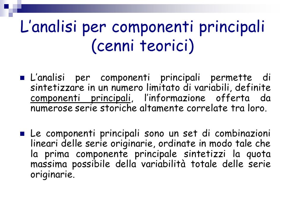 L'analisi per componenti principali (cenni teorici)