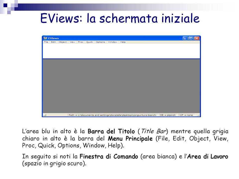 EViews: la schermata iniziale