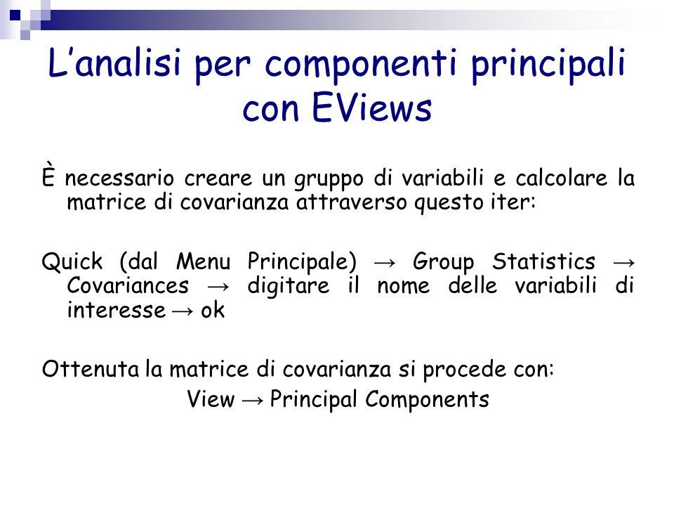 L'analisi per componenti principali con EViews