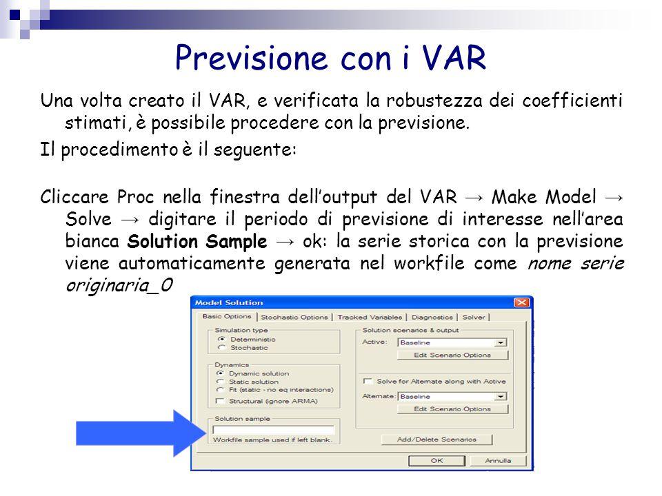 Previsione con i VAR Una volta creato il VAR, e verificata la robustezza dei coefficienti stimati, è possibile procedere con la previsione.