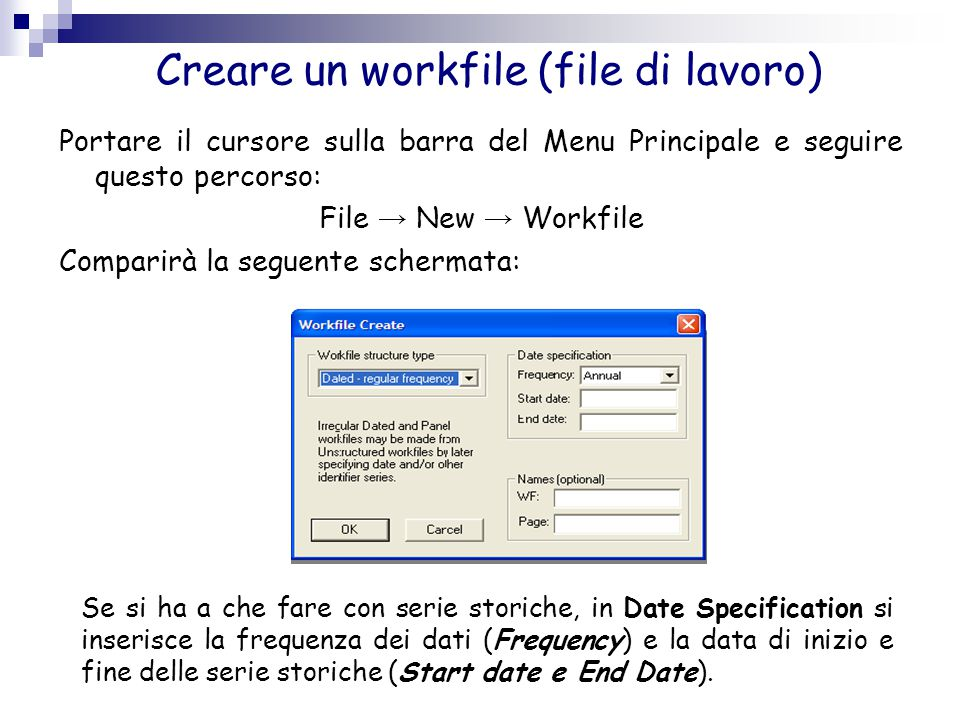 Creare un workfile (file di lavoro)