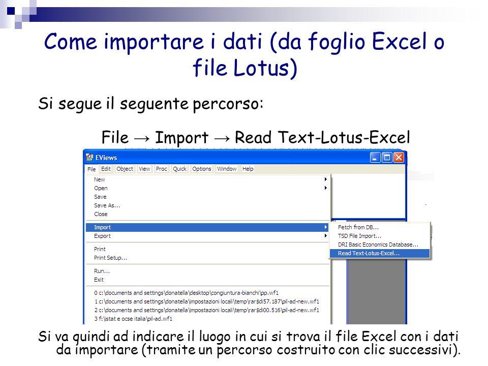 Come importare i dati (da foglio Excel o file Lotus)