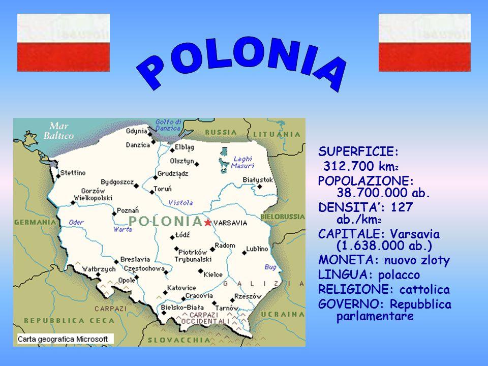 POLONIA SUPERFICIE: 312.700 km2 POPOLAZIONE: 38.700.000 ab.